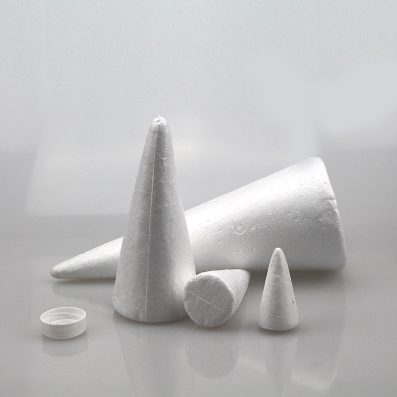 Polystyrene Styrofoam White Foam Cone Christmas Tree Decoration Doll Base Children DIY Handmade Materials 30-50cm(high)