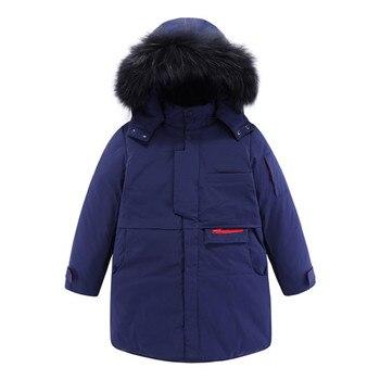 Mudkingdom Boys Girls Winter Hooded Jackets Windproof Kids Teenager Navy Thicken Warm Coat Faux Fur Hooded