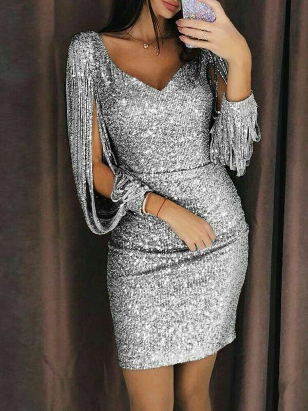Tassel Long Sleeve Sexy Women Sequin  Dress V Neck Party Night Mini Dress For Women Vintage Short Black  Gold Silver Summer