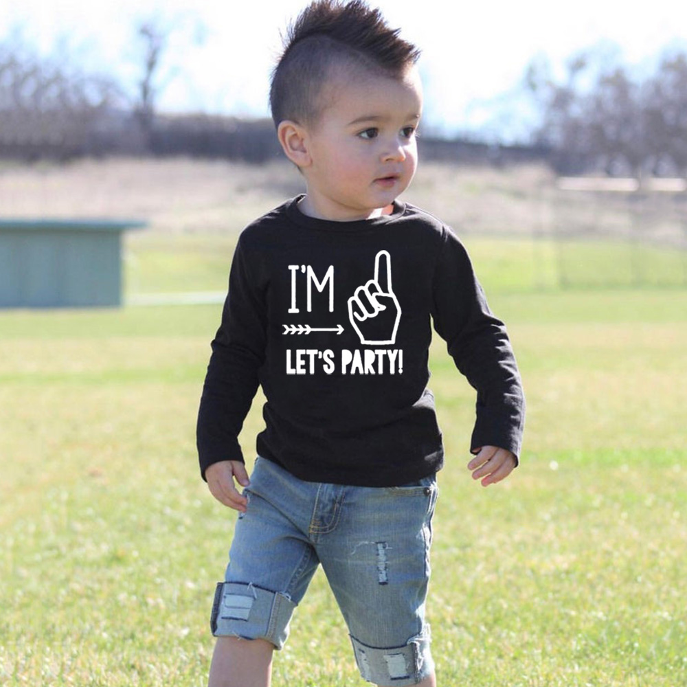 I'm One Let's Party Kids <font><b>Tshirt</b></font> Toddler <font><b>Baby</b></font> Boy Girl First <font><b>Birthday</b></font> T-shirt Funny Children Long Sleeve Casual T Shirts Outfit image