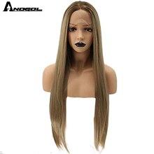 Anogol Natural wysokiej temperatury włókna długi jedwabisty prosto blond Ombre ciemne korzenie syntetyczna koronka peruka Front dla białych kobiet
