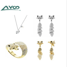 AYOO High Quality SWA Classic Natural Inspiration White Fox Female Fox Lady Necklace Earring Ring sets azora my fox lady rose gold color austrian rhinestone paved fox pendant necklace and earring set tg0074