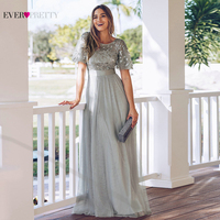 Sparkle Evening Dresses Long Ever Pretty A Line O Neck Short Sleeve Sequined Tulle Elegant Evening Gowns Robe De Soiree 2020