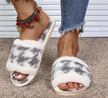 Zimowe damskie kapcie do domu ciepłe futrzane modne buty kobieta płaskie buty wsuwane projektant panie futrzane kapcie kobiece slajdy kryty tanie i dobre opinie ZHUNUAN Niska (1 cm-3 cm) Futro CN (pochodzenie) Lato Na zewnątrz Klinowe 3-5 cm LEISURE Dobrze pasuje do rozmiaru wybierz swój normalny rozmiar