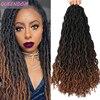 Afro kıvırcık Dreadlocks tığ saç kadınlar için tanrıça Faux Locs tığ örgüler Ombre sentetik Dreads örgü saç uzantıları