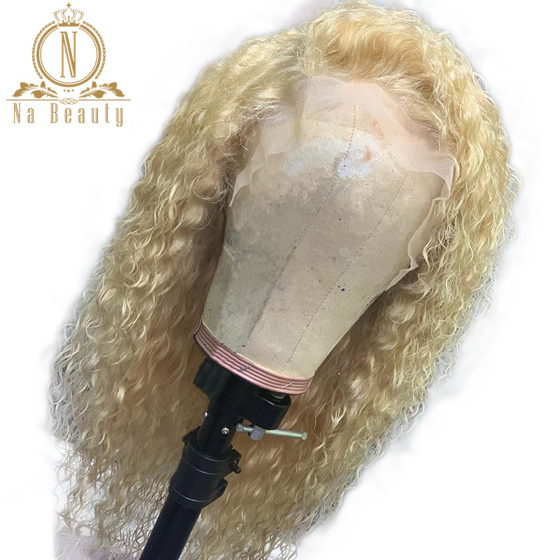 Transparent Lace 613 Honey Blonde 360 Lace Frontal Wig Curly 13X6 Lace Front Human Hair Wigs Long Wig PrePlucked 150% Non Remy