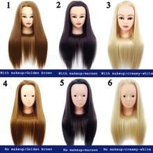 Голова манекена из шелкового волокна, голова куклы, голова с волосами, голова для обучения парикмахерской, голова для обучения макияжу