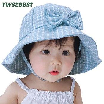 цена на Fashion Grid Baby Hat with Bowknot Summer Sun Hat Autumn Baby Hats for Girls Kids Child Beach Sun Cap