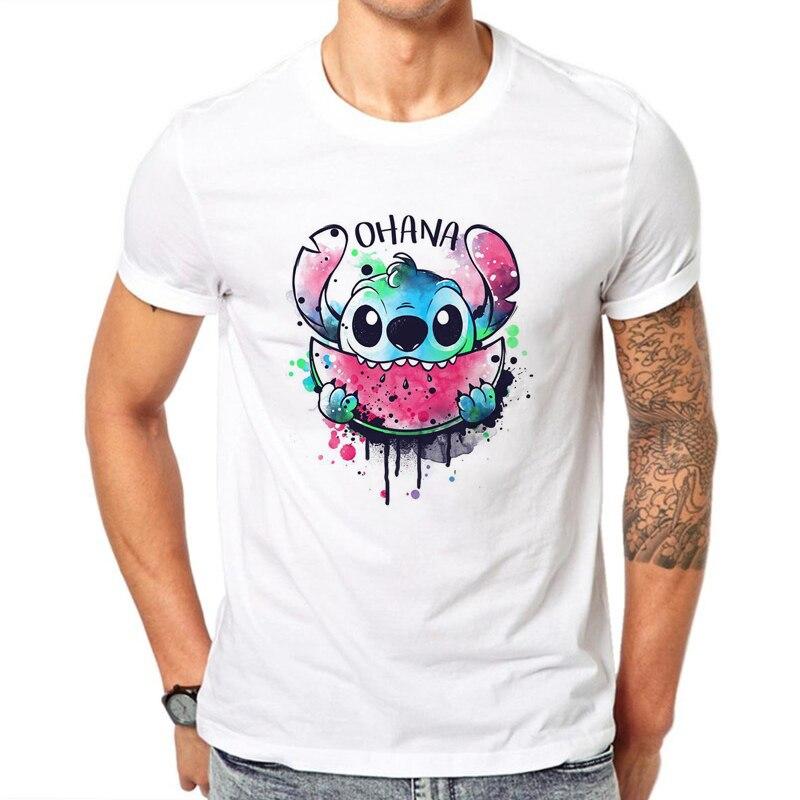 2019 Ohana Watercolor Lilo & Stitch Print Summer Men Tshirts Harajuku White Cotton Hip Hop T-Shirts Tee Shirt Harajuku T-shirts