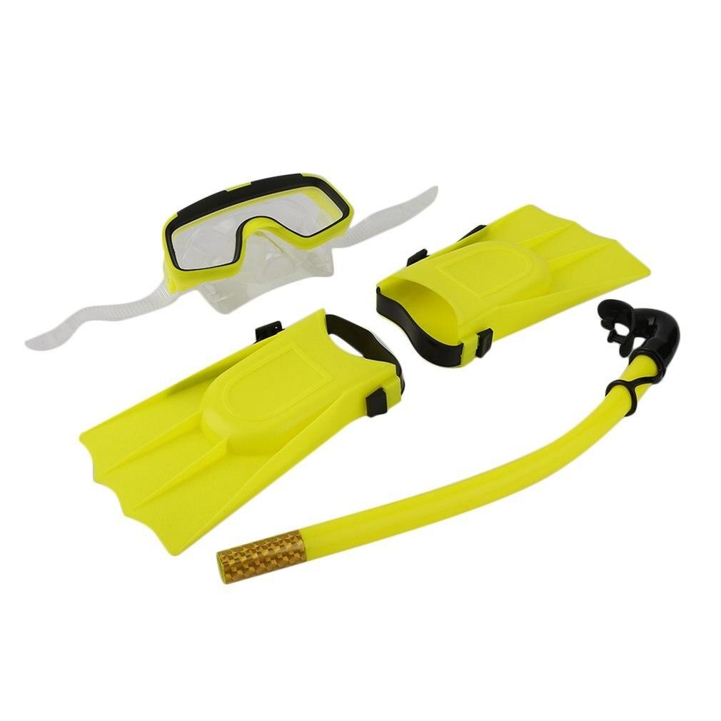 1 Set Snorkeling Diving Mask Breathing Tube Long Fins Foot Flippers 3Pcs Snorkels Set Swimming Pool Training Equipment New