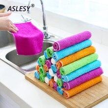 Chiffons de nettoyage Anti-graisse de cuisine, 5 à 20 pièces, chiffons de nettoyage efficaces en Fiber de bambou, pour la vaisselle à la maison, outils multifonctionnels