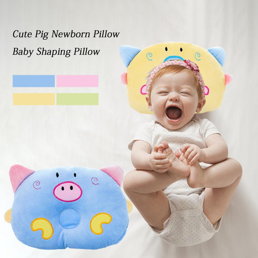 Cute Cartoon Pig Newborn Pillow Polyester Crystal Velvet Comfortable Baby Head Protection Shaping Pillow