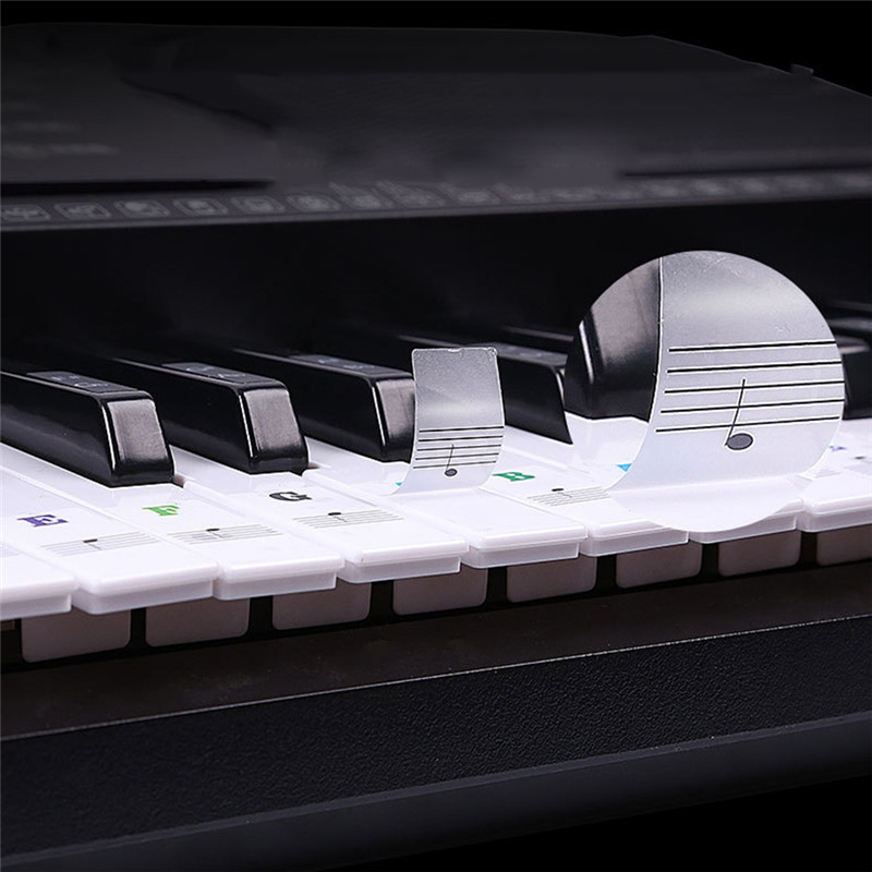 Piano Sticker Transparent Piano 54 61 88 Keys Electronic Keyboard Key Sticker Piano Stave Note Sticker