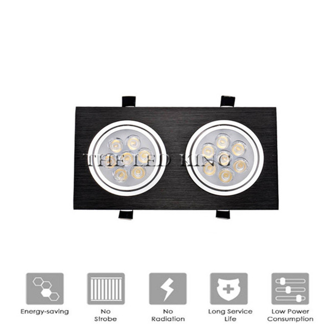 Dimmable LED Downlights 18W30W AC85 265V Square silver Black LED Ceiling Lamp Down Light for Kitchen Home Office Indoor Lighting