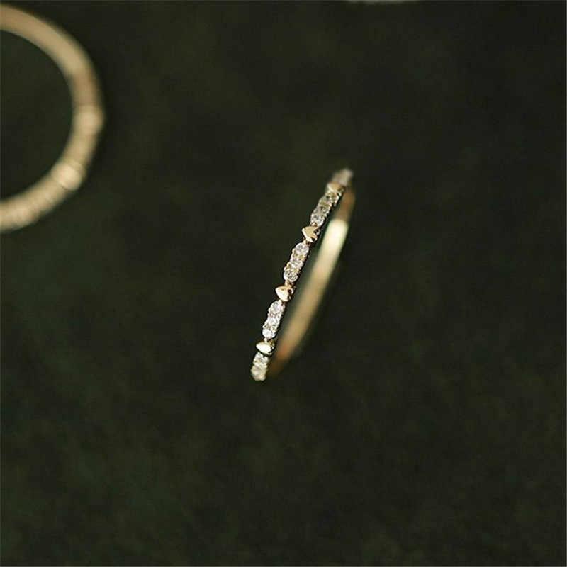 Dễ Thương Đời Boho Nữ Nhỏ Đá LỜI HỨA Hoa Hồng Vàng Lấp Đầy Trái Tim Đính Đá Thời Trang Cưới Cho Nữ, Nhẫn Nữ