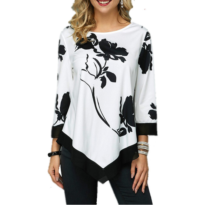 S-5XL T Shirt Women Plus Size Three Quarter Ladies Tee Shirts Floral Print Loose Casual Tops Female Irregular Autumn Clothes 5