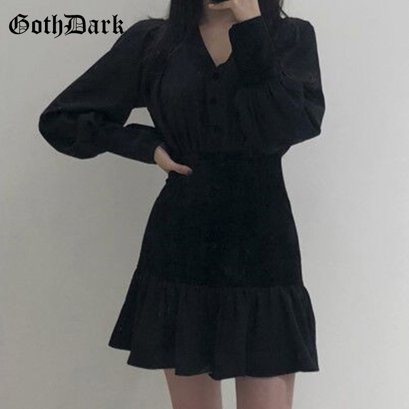 Goth Dark Vintage Gothic Dress Women ruffle Winter 2019 Black Grunge Punk Aesthetic Dresses Longsleeve Pleated Button Patchwork