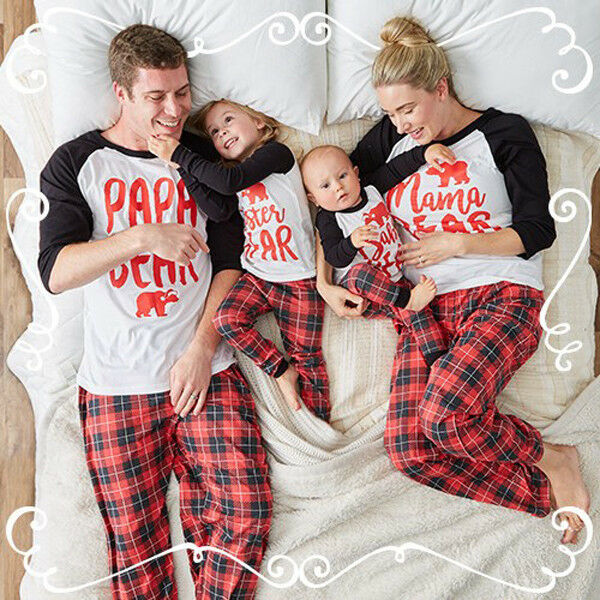 Family Matching Winter Warm Christmas Pajamas Set Bear Printing Tops Striped Pants Bottom Women Baby Kids Sleepwear Nightwear