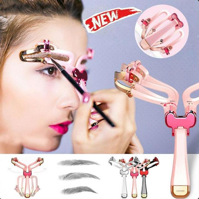 Adjustable Eyebrow Shapes Stencil 3 Colors DIY Eyebrow Shapes Template Reusable Mold Hand-held  For Beginners in Makeup