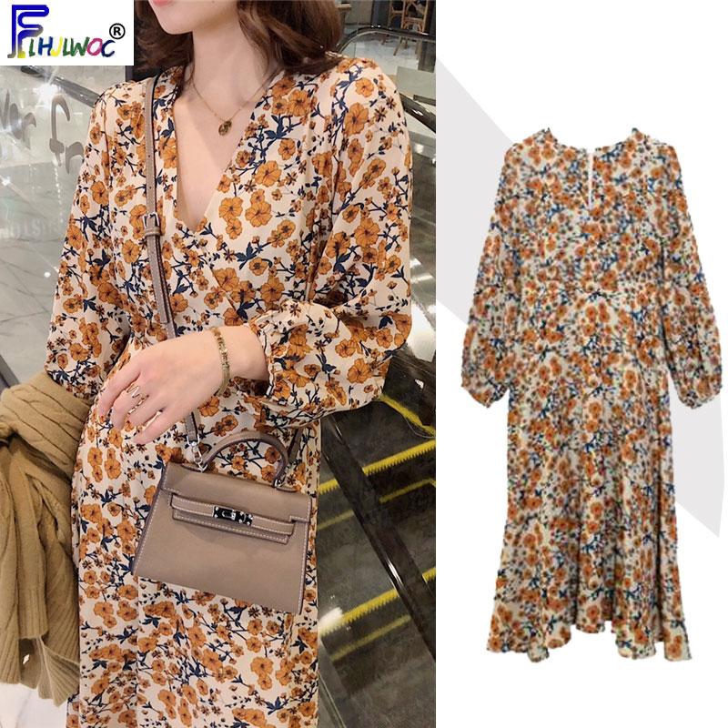 2020 Spring Design Beautiful Dresses Floral Printed Long Sleeve V Neck Yellow Temperament Lady Vintage Dress Korea Style 12520Dresses   -