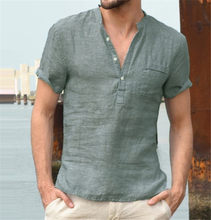 Hot selling European and American men's stand-up collar cotton linen men's short-sleeved shirt