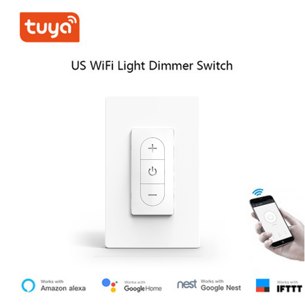 Smart WiFi Dimmer Switch 100-240V Stepless Dimmer Switch LED CFL Incandescent Bulbs Dimming Switch TUYA smart APP US model 12012