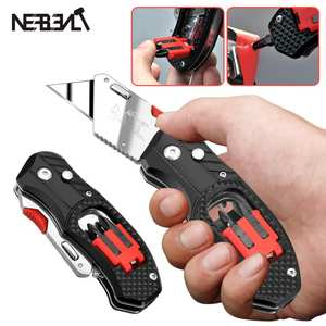 Professional Electrician Folding Utility Knife Stainless Steel 4 In 1 Multifunction With Screwdriver Bit Set Easy Carry