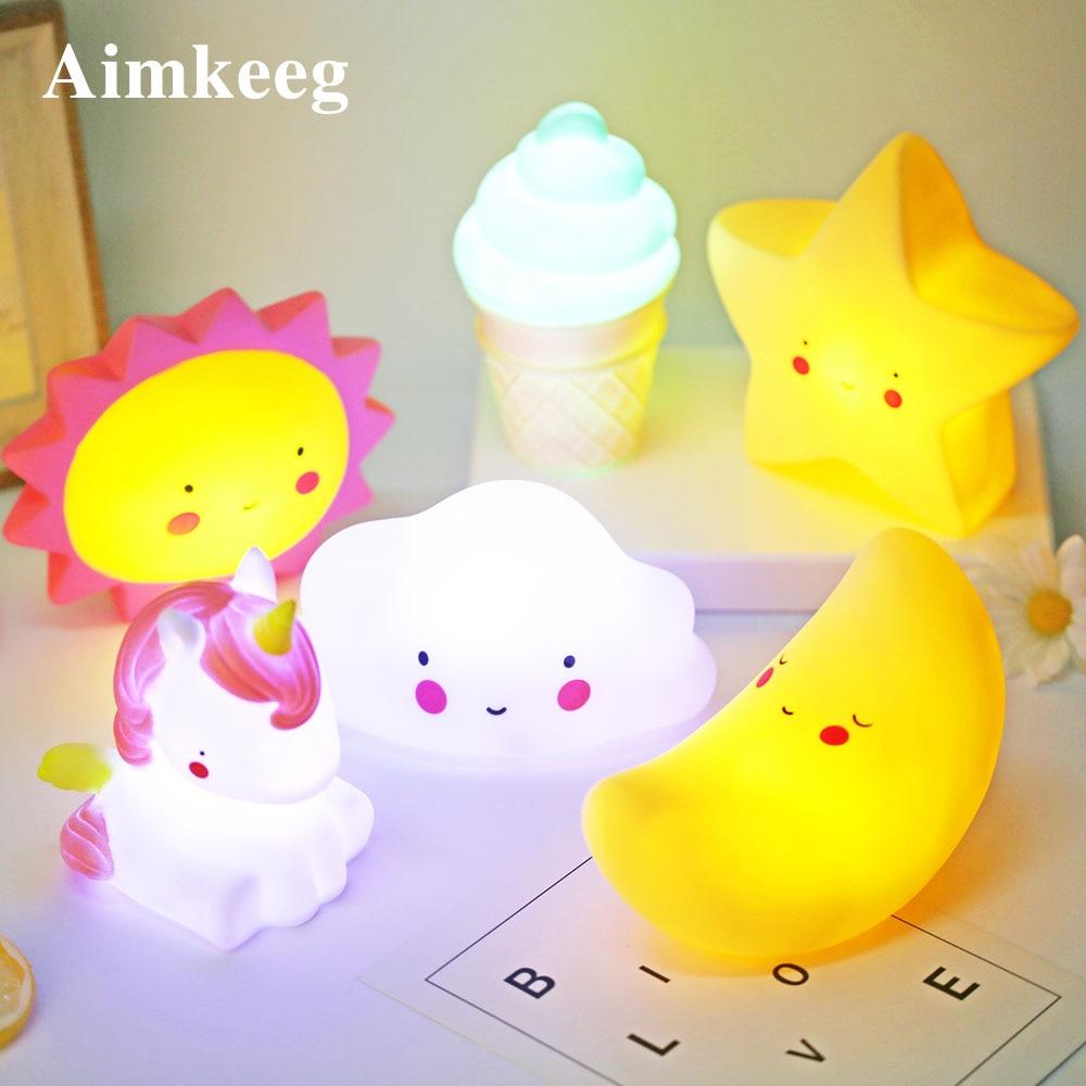 Cute Chlidren Night Light Led Bedroom Decoration Lamp dinosaur unicorn Star Moon Cloud Night Lamp for Kids Christmas Gifts
