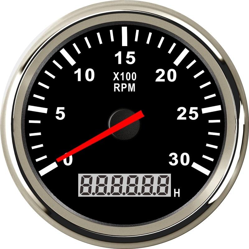 Universal 85mm Car Boat Tacho Sensor Marine Tachometer with Hourmeter 3000 4000 6000 8000 RPM Tachometer 12V/24V Red Backlight