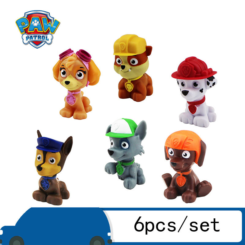 6pcs/set Paw Patrol Patrulla Canina Pawed Dogs Anime Action Figures Puppy Car Patroling Canine Birthday Toys Gifts For Children