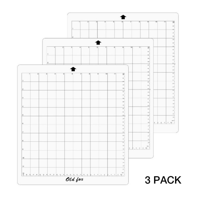 3Pcs Replacement Transparent Grid Cutting Mats For Silhouette Cutting Plotter, 12x12 Inch Adhesive Clear Mat With Measuring Grid