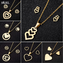 SMJEL Bijoux Stainless Steel Love Heart Necklaces Women Gold Color Jewelry Sets Simple Wedding Heart Earrings Wholesale 2019
