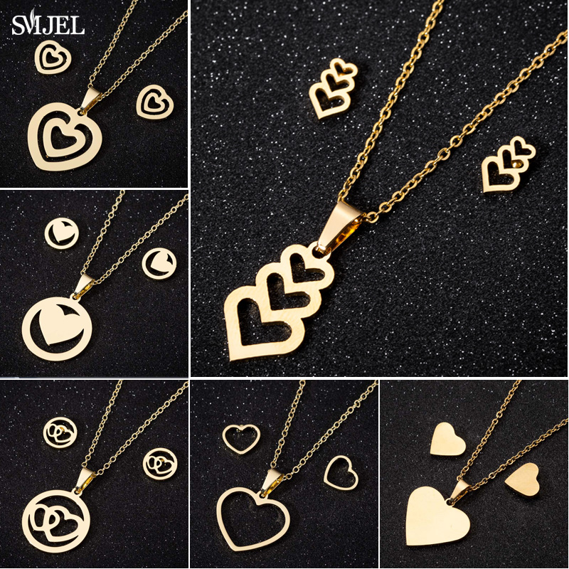 SMJEL Bijoux <font><b>Stainless</b></font> <font><b>Steel</b></font> Love Heart Necklaces <font><b>Women</b></font> Gold Color <font><b>Jewelry</b></font> <font><b>Sets</b></font> Simple Wedding Heart Earrings Wholesale 2019 image