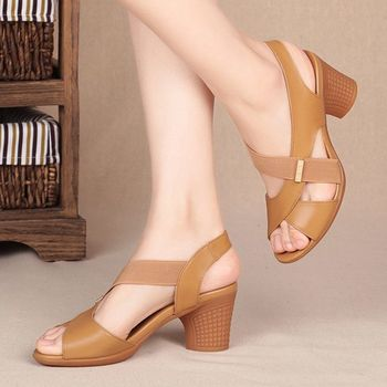 2020 Sandals Female High Heels Thick Heel Fish Mouth Shoes Comfortable Non-slip Soft Bottom Middle-aged and Elderly Mother