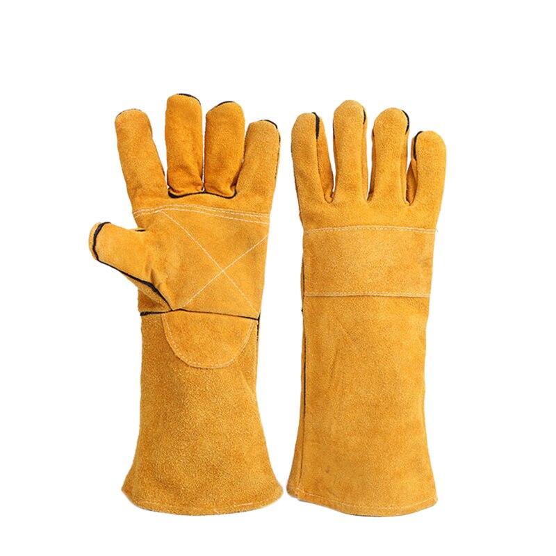 14 Inch Leather Welding Gloves Anti Cut Temperature Resistant Fire Proof Cowhide Work Gloves Hands Protection Ev Eldivenleri Ev ve Bahçe - title=