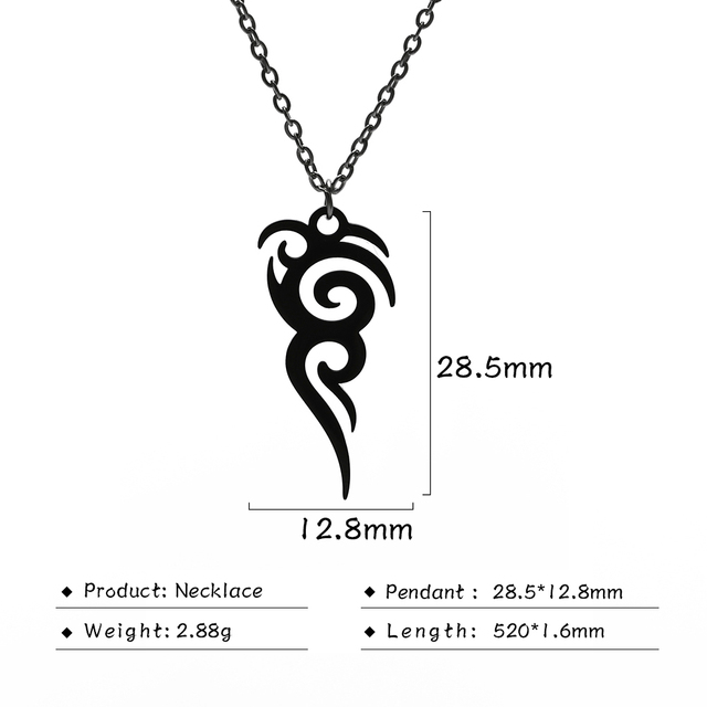 Cooltime Stainless Steel Retro Tribal Totem Easter Long Pendant Necklaces Black Amulet Necklace Jewelry Christmas Gift 10