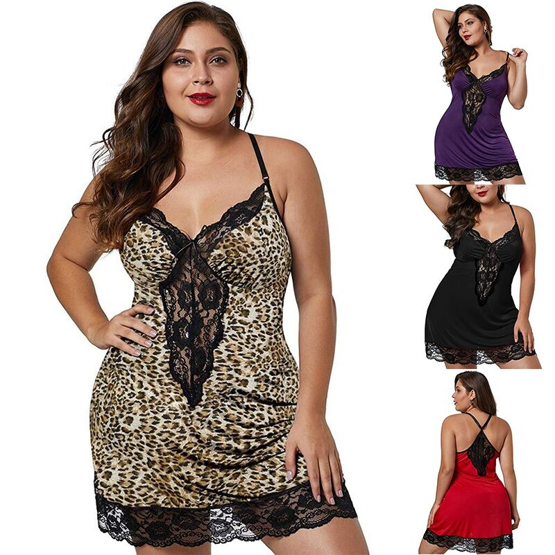Fashion Women Sleepwear Large Size Night Dress Lingerie  Sexy  Babydoll  Nightwear Lace Nightdress Underwear G-String Set