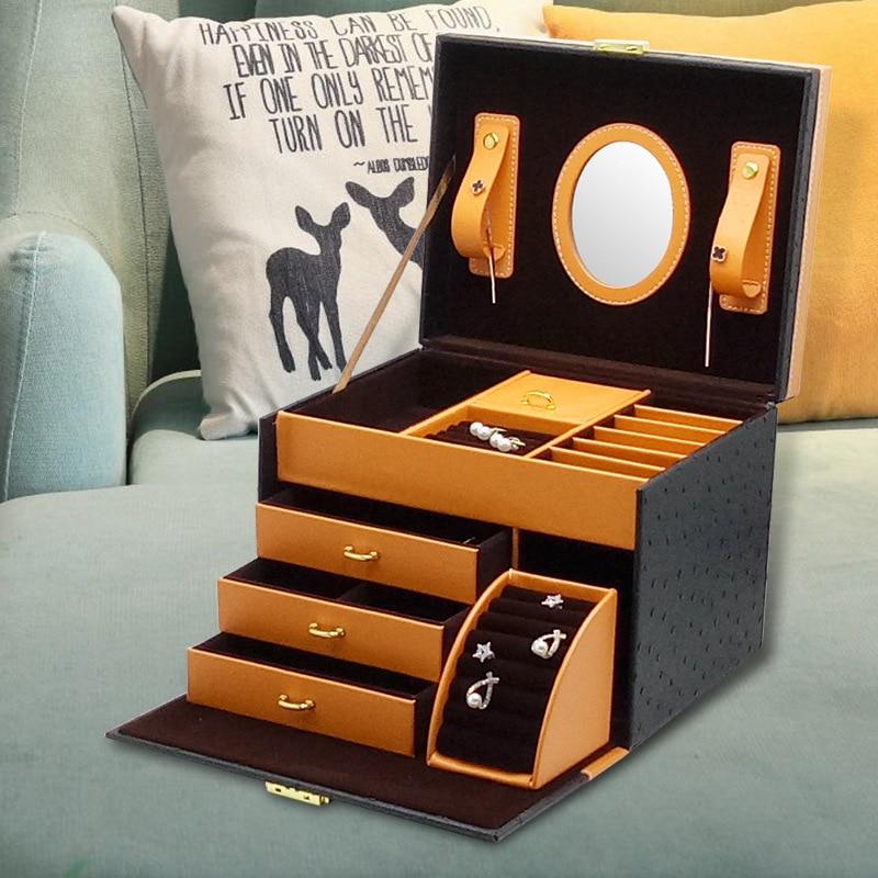 Top Grade Gift Jewlery Box Home Jewelry Ornament Leather Jewelry Storage Drawer Top Grade Jewelry Box