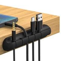 Organizador de Cables de silicona, organizador de cables USB, organizador de Clips de gestión de escritorio ordenado, soporte para ratón, teclado, auricular, auriculares