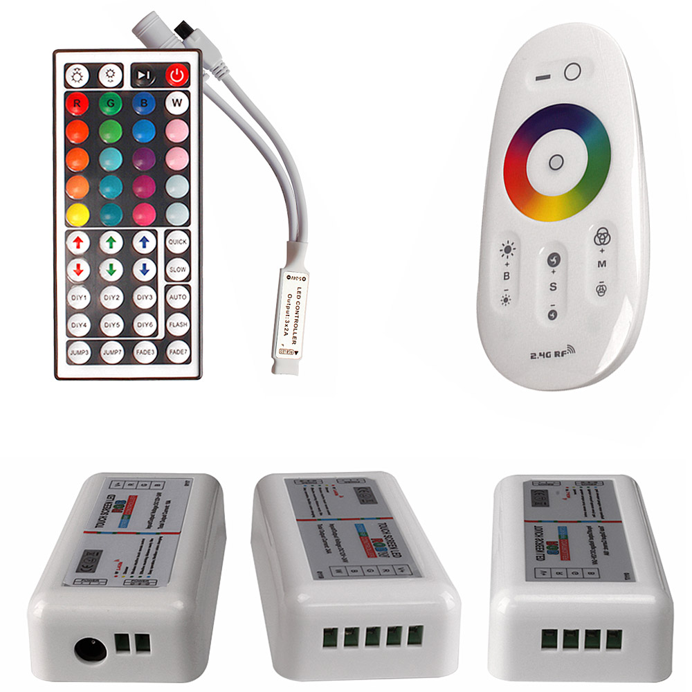 Touch Screen LED RGB / RGBW Controller 2.4G Wireless Controller DC12-24V 44Key IR Remote Control For RGB 2835 SMD 5050 LED Strip