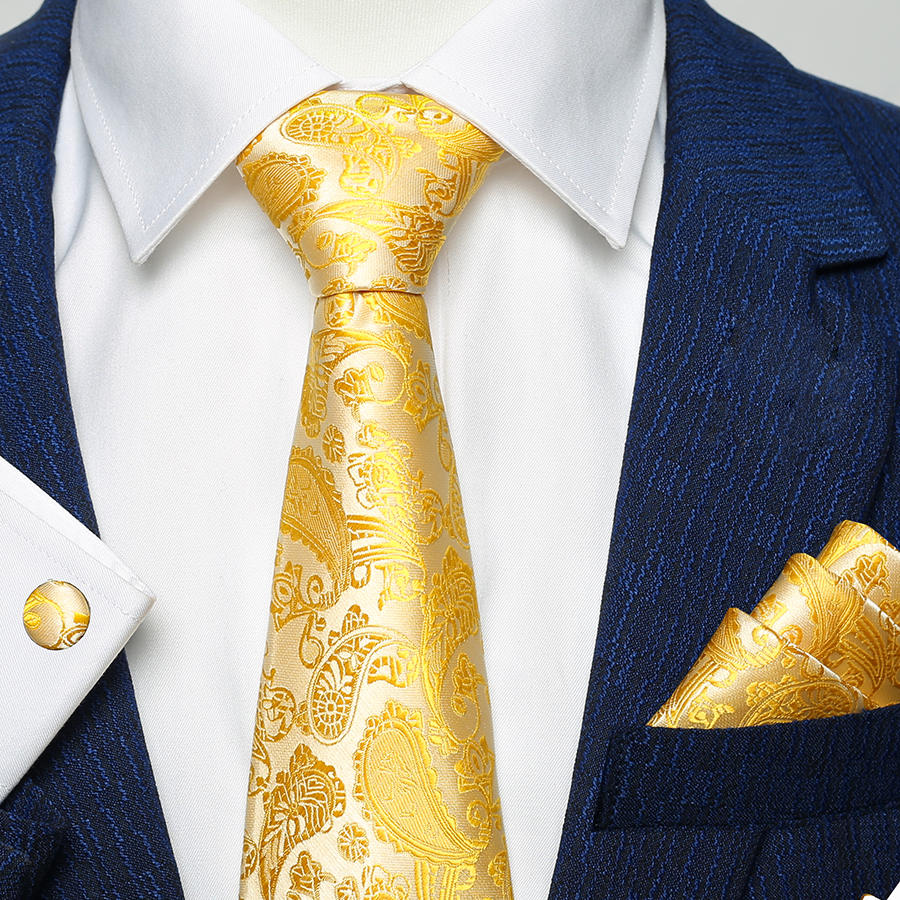 Silk Men Tie Set Floral Yellow Gold Ties And Handkerchiefs Cufflinks Set Men's Wedding Party Suit Fashion Paisley Neck Tie