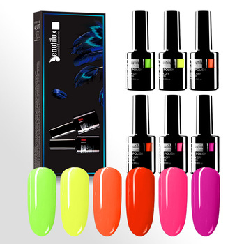 Beautilux Gel Polish Kit Neon Color Nail Gel Polish Summer Candy Hot Pink Green Yellow Gel Varnish Sugar Gels Lacquer 6pcs/set