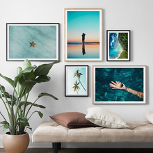 Conch Starfish Dusk Coconut Tree Sea Wall Art Canvas Painting Landscape Nordic Posters And Prints Pictures For Living Room