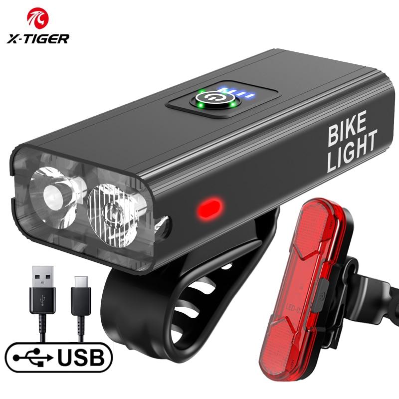 X-TIGER велосипедный светильник непромокаемые зарядка через USB светодиодный 1200 люмен MTB переднего фонаря ламповый патрон светильник Алюминий ...