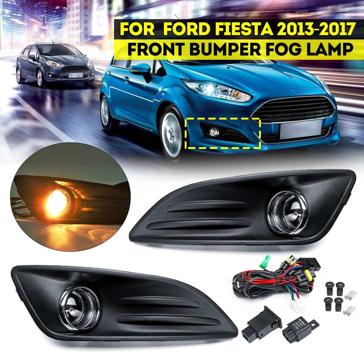 Car Fog Light With Grill And Wire for Ford iesta mk6 2013 2014 2015 2016 2017 Foglight Front Bumper Headlight Accessories Cover