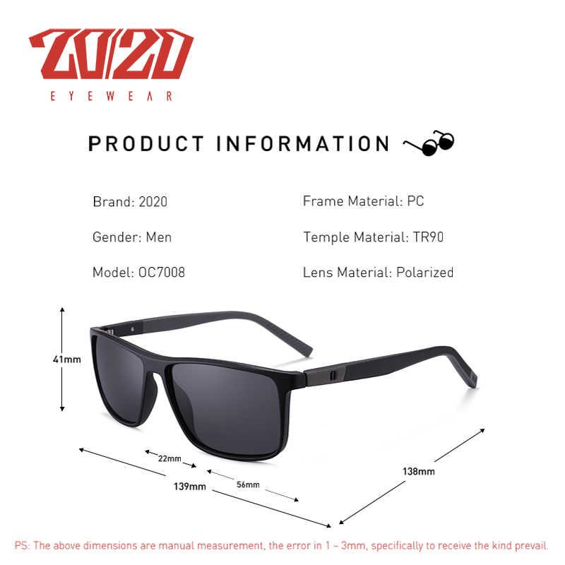 20/20 design polarizado tr90 óculos de sol primavera dobradiça templo uv400 lente eyewear para o homem mulher óculos oculos gafas oc7008