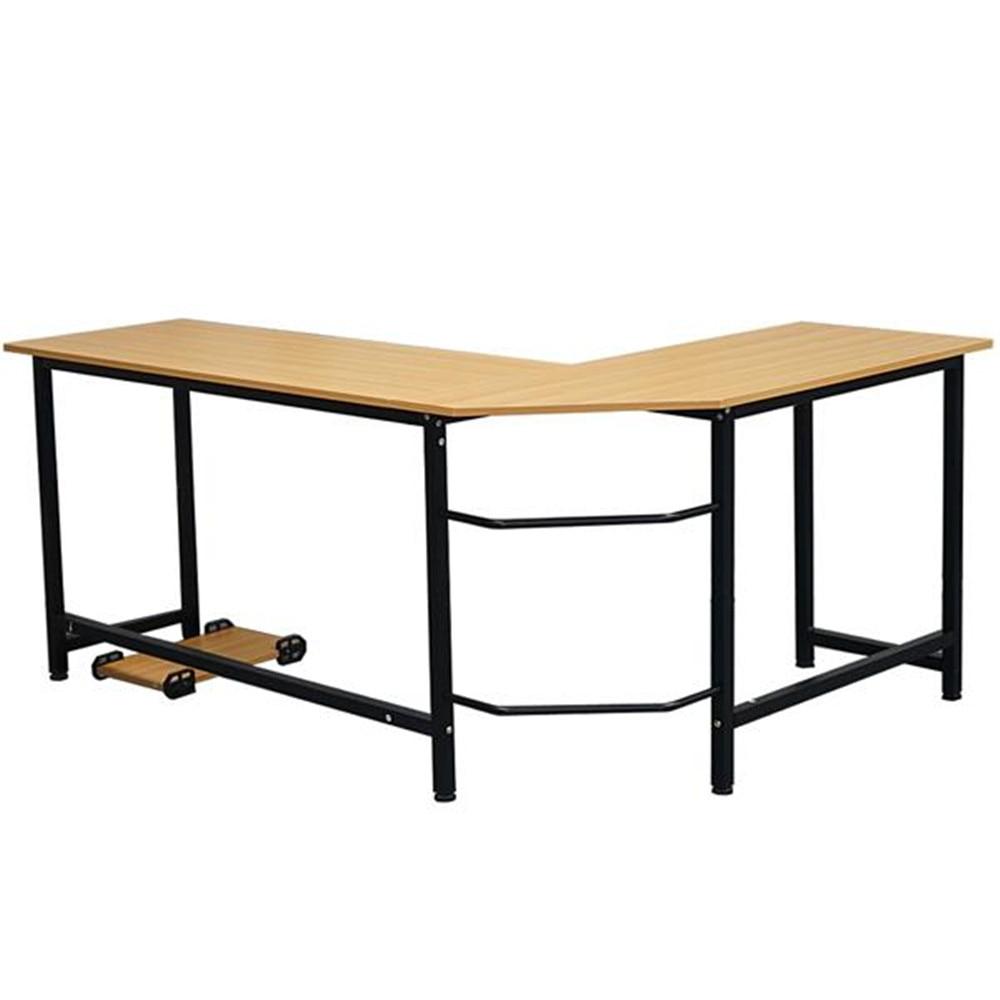 High Quality MDF L-Shaped Desktop Computer Desk Beech Wood Color Adjustable Leg Computer Desk  Office Desk