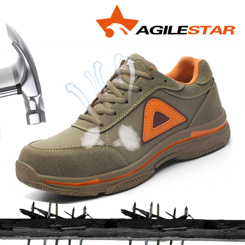 AGILESTAR Woodland Shoes Breathable Brown Suede Comfortable Outdoors Steel Toe Anti-Smashing Non-Slip Security Work Shoes