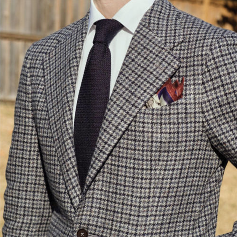 2020 Men's Houndstooth Tweed Suit Formal Blazer Wool Dog Tooth Check Vintage Tuxedos Notch Lapel Two Button  Men Suit