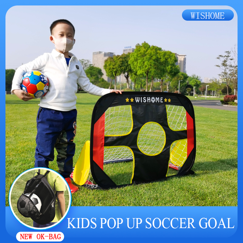 WISHOME 2in1 Kids Pop Up Soccer Goal Set With Size3 Ball Portable Soccer Goal Net For Backyard Football Gate Indoor Outdoor Toys